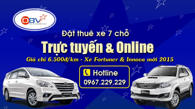 Đặt thuê xe 7 chỗ Trực tuyến, Online uy tín nhất tại Hà Nội - DBV
