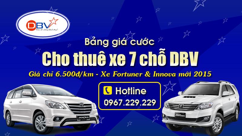 Giá thuê xe 7 chỗ tại Hà Nội - Bảng báo giá thuê xe 7 chỗ DBV