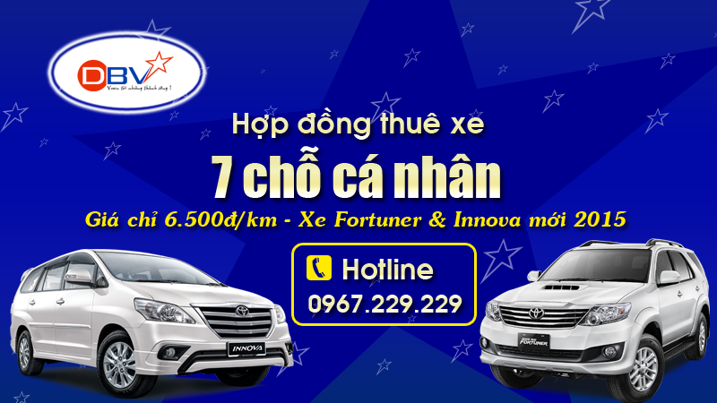 Hợp đồng cho thuê xe 7 chỗ tại Hà Nội - Du lịch, Cưới, Tháng DBV