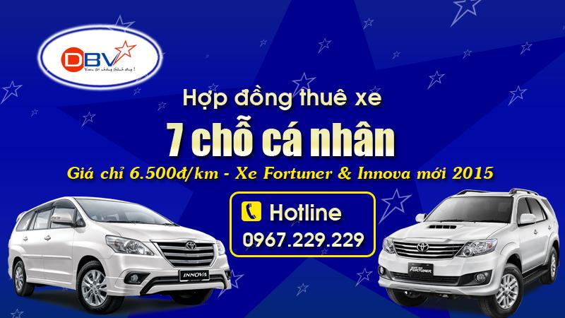 Hợp đồng dịch vụ cho thuê xe 7 chỗ tháng tại Hà Nội - DBV