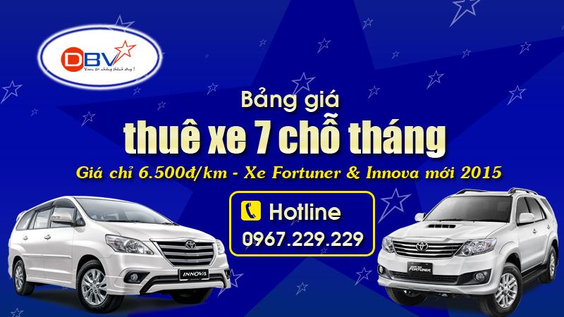 Giá thuê xe 7 chỗ theo tháng tại Hà Nội - Xe 7 chỗ mới 2017 DBV